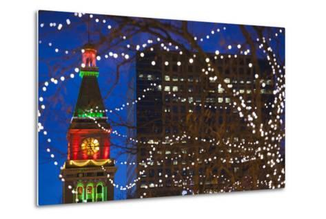 Daniels and Fisher Clock Tower with Christmas Lights, Denver, Colorado, USA-Walter Bibikow-Metal Print