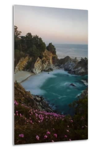 Mcway Waterfall and Pink Flowers Just after Sunset-Ben Horton-Metal Print