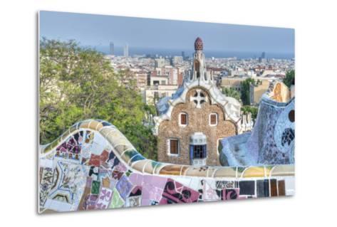 Park Guell Terrace, Barcelona, Spain-Rob Tilley-Metal Print