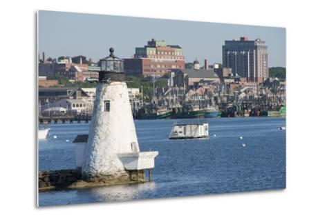 Fishing Boats, Palmer Island Lighthouse, New Bedford Harbor, Massachusetts, USA-Cindy Miller Hopkins-Metal Print