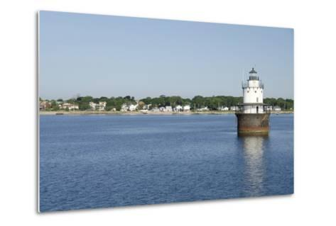 Butler Flats Light, Spark Plug Lighthouse at New Bedford Harbor, Massachusetts, USA-Cindy Miller Hopkins-Metal Print