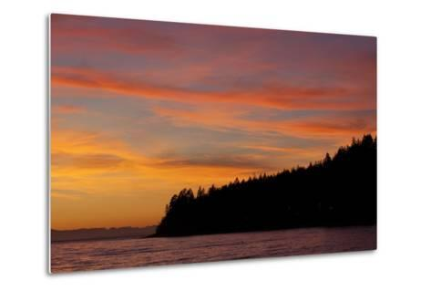 A Fiery Sky at Sunset Above Sunshine Coast and the Pacific Ocean-Matthias Breiter-Metal Print