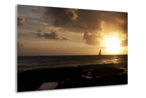A Sailboat Among Gentle Waves at Sunset-Marc Moritsch-Metal Print