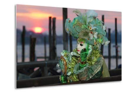 A Woman in a Mask and Costume for Carnival At a Gondola Stand-Joe Petersburger-Metal Print