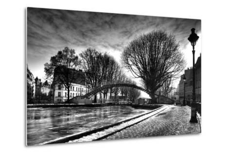 View of the Canal Saint-Martin - Winter -  Paris - France-Philippe Hugonnard-Metal Print