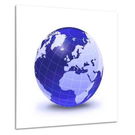 Stylized Earth Globe with Grid, Showing Europe And Africa-Stocktrek Images-Metal Print