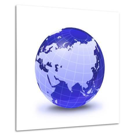 Stylized Earth Globe with Grid, Showing Asia And Europe-Stocktrek Images-Metal Print