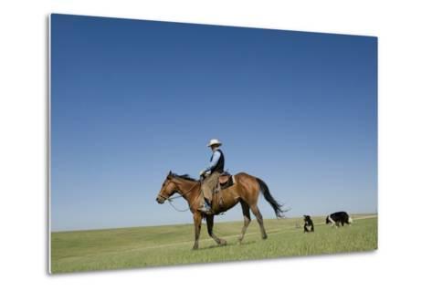 A Cowboy Rides His Horse On a Ranch Near Fort Pierre-Joel Sartore-Metal Print
