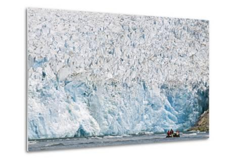 Ecotourists in a Zodiac in Front of Dawes Glacier-Rich Reid-Metal Print