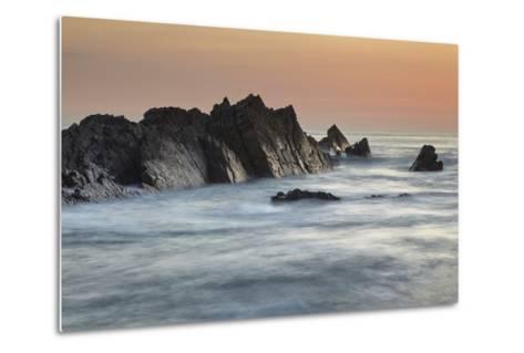 A Dusk View of Atlantic Coast Rocks, at Hartland Quay, Devon, England-Nigel Hicks-Metal Print