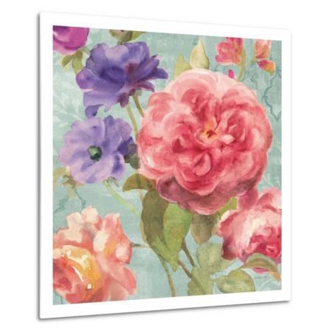 Watercolor Floral II on Grey-Danhui Nai-Metal Print