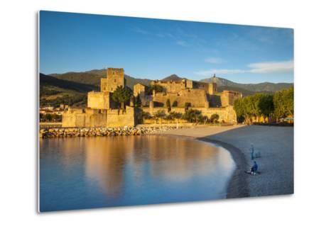 Fishing, Royal Castle, Collioure, Pyrenees-Orientales, Languedoc-Roussillon France-Brian Jannsen-Metal Print