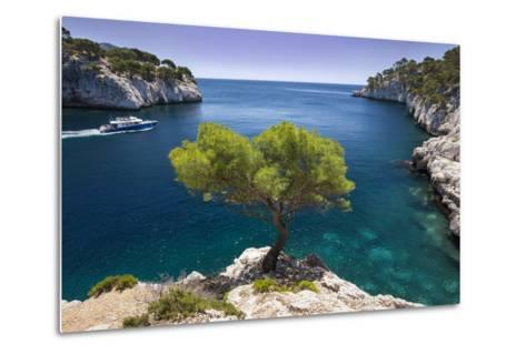 Tour Boat, Lone Pine Tree in the Calanques Near Cassis, Provence, France-Brian Jannsen-Metal Print