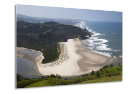 View of Beach and Salmon River, Cascade Head, Oregon, USA-Jamie & Judy Wild-Metal Print