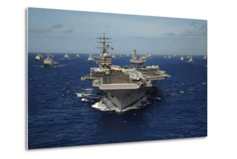 Aircraft Carrier USS Ronald Reagan Leads Allied Ships on Pacific Ocean, July 2010--Metal Print