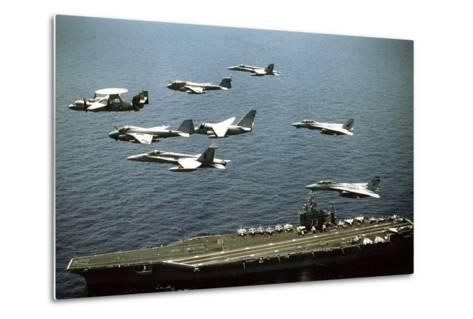 Aircraft Fly over the Nuclear-Powered Aircraft Carrier USS George Washington, 1992--Metal Print