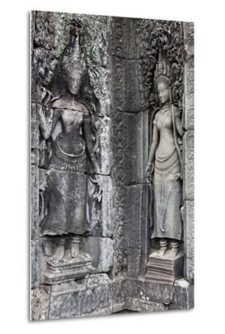 Carved Stone Statues and Relief Sculpture On Temple Walls-Kent Kobersteen-Metal Print