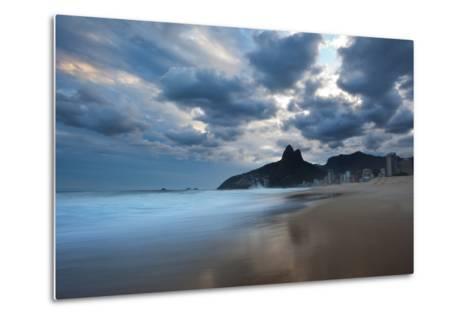 Dois Irmaos Peaks in the Distance on Ipanema Beach at Sunset-Alex Saberi-Metal Print