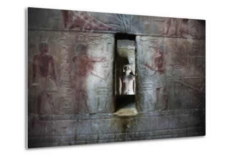 A Statue Through a Window in a Bas Relief Covered Wall in the Tomb of Ti-Alex Saberi-Metal Print