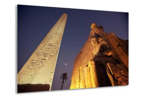 Ramses Statue and Obelisk at the Entrance to the Luxor Temple Complex-Alex Saberi-Metal Print