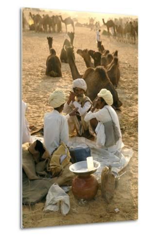 Pastoral Nomads at Annual Pushkar Camel Fair, Rajasthan, Raika, India-David Noyes-Metal Print