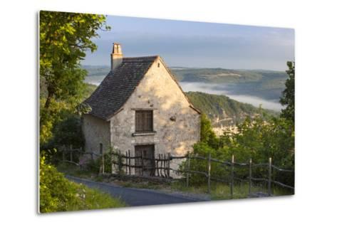 Morning Mist Along River Lot, Cottage in Saint Cirq Lapopie, Midi-Pyrenees France-Brian Jannsen-Metal Print