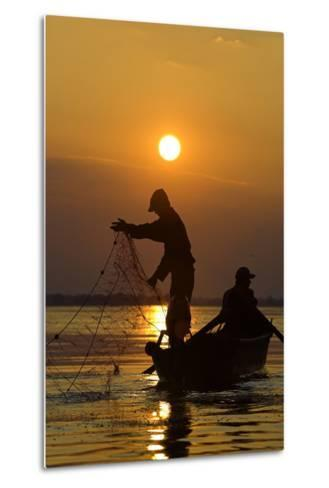 Fishing in the Danube Delta, Casting Nets During Sunset on a Lake, Romania-Martin Zwick-Metal Print