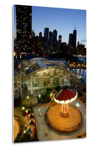 City Skyline Overview of Navy Pier at Sunset, Chicago, Illinois-Cindy Miller Hopkins-Metal Print