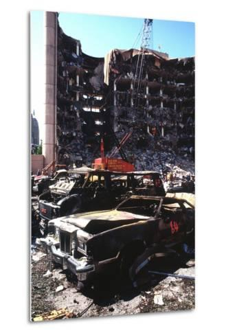 Destroyed Automobiles Near the Bombed Alfred Murrah Federal Building, 1995--Metal Print
