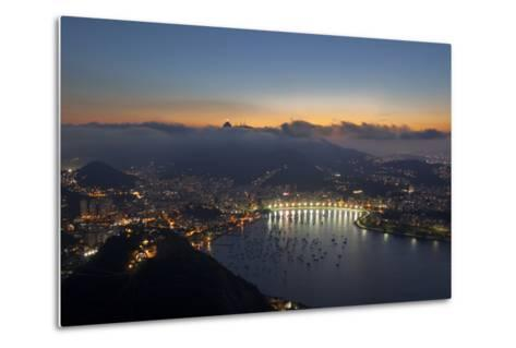 Wide Angle View of Rio De Janeiro at Sunset with Guanabara Bay-Alex Saberi-Metal Print