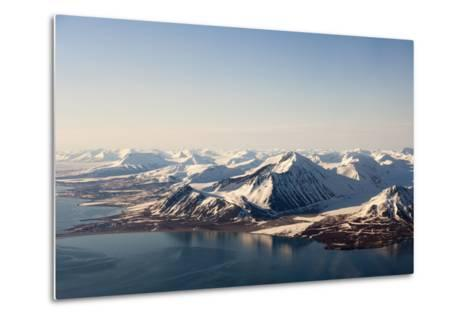 Sunlight Highlights Ice Covered Mountains on Spitsbergen Island-Sergio Pitamitz-Metal Print