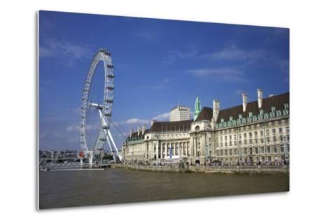 South Bank, London Eye, County Hall Along the Thames River, London, England-Marilyn Parver-Metal Print