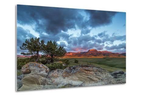 Fiery Sunrise Light, Ear Mountain, Rocky Mountain Front, Choteau, Montana, USA-Chuck Haney-Metal Print