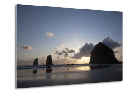Haystack Rock at Sunset, Cannon Beach, Oregon, USA-Jamie & Judy Wild-Metal Print
