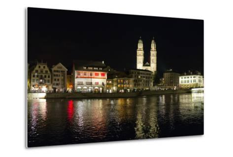 Old Town Zurich, Grossmunster Cathedral, and the Limmat River-Greg Dale-Metal Print