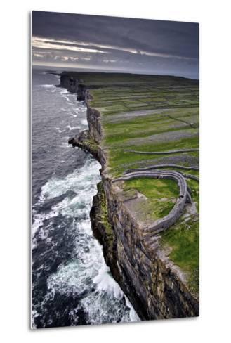 Atlantic Waves Crash on the Cliffs Beneath the Ancient Dun Aengus-Jim Ricardson-Metal Print
