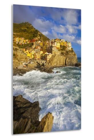 Swirling Ocean at the Foot of Manarola in the Cinque Terre, Liguria Italy-Brian Jannsen-Metal Print