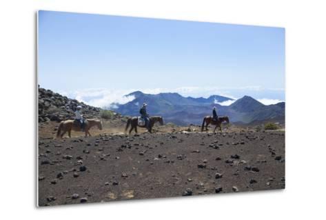 Horseback Trail Ride, Haleakala National Park, Maui, Hawaii, USA-Douglas Peebles-Metal Print
