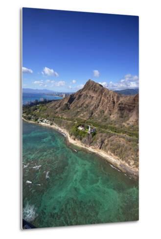 Aerial View of Lighthouse, Diamond Head, Waikiki, Oahu, Hawaii, USA-Douglas Peebles-Metal Print
