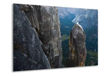 Posing on the Lost Arrow Spire Above Yosemite Village on Her Wedding Day-Ben Horton-Metal Print