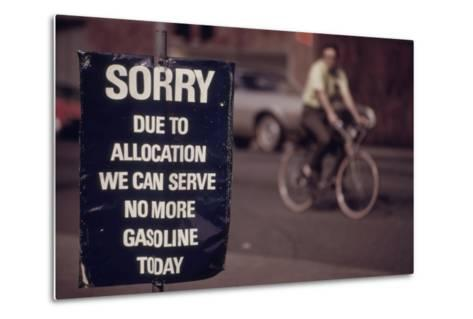 No Gas Sign During the Arab Oil Embargo after 1973 Yom Kipper War--Metal Print