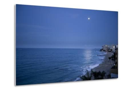 Full Moon Rise Over the Beach and Sea in Puerto Rico-Stephen Alvarez-Metal Print
