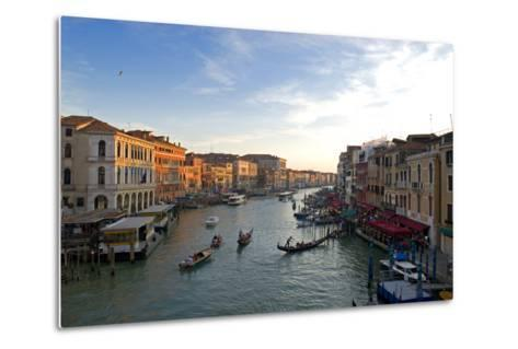 Bustling Riverfront Along the Grand Canal in Venice, Italy-David Noyes-Metal Print