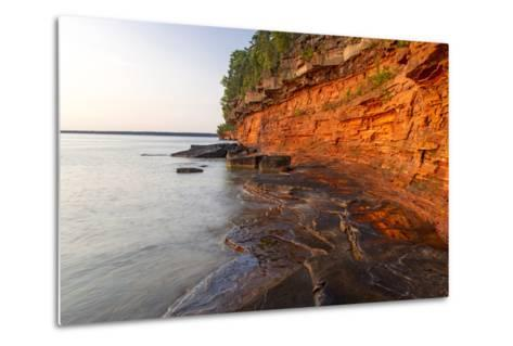 Sandstone Cliffs, Sea Caves, Devils Island, Apostle Islands Lakeshore, Wisconsin, USA-Chuck Haney-Metal Print