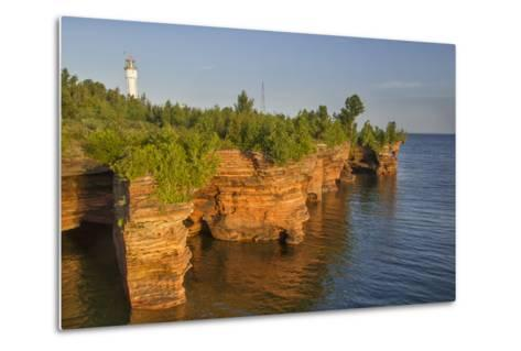 Sandstone Cliffs, Sea Caves, Devils Island, Apostle Islands Lakeshore, Wisconsin, USA-Chuck Haney-Metal Print