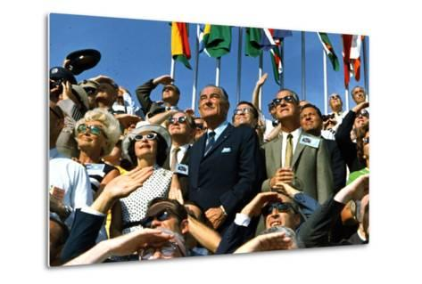 VP Spiro Agnew and Lyndon Johnson Watch Apollo 11 Moon Launch, July 16, 1969--Metal Print