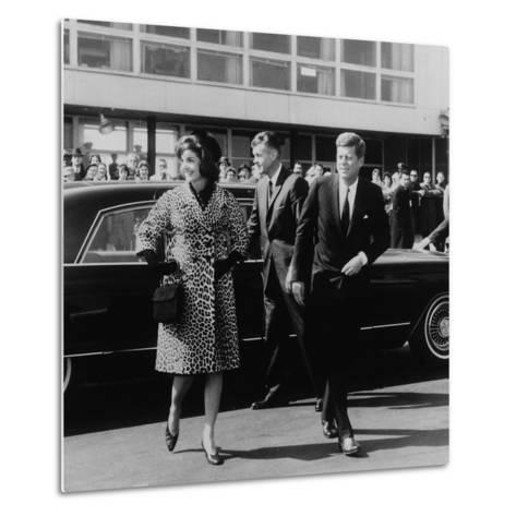 Jackie Kennedy Depart for India in Oleg Cassini Leopard Skin Coat, Mar. 8, 1962--Metal Print