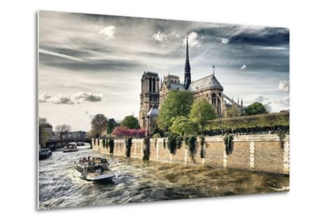 Notre Dame Cathedral - the banks of the Seine in Paris - France-Philippe Hugonnard-Metal Print