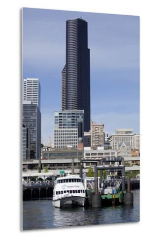 Water Taxi with Skyline, Seattle, Washington, USA-Jamie & Judy Wild-Metal Print