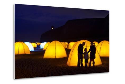 Peace Camp Art Installation by the Mussenden Temple in Derry-Chris Hill-Metal Print